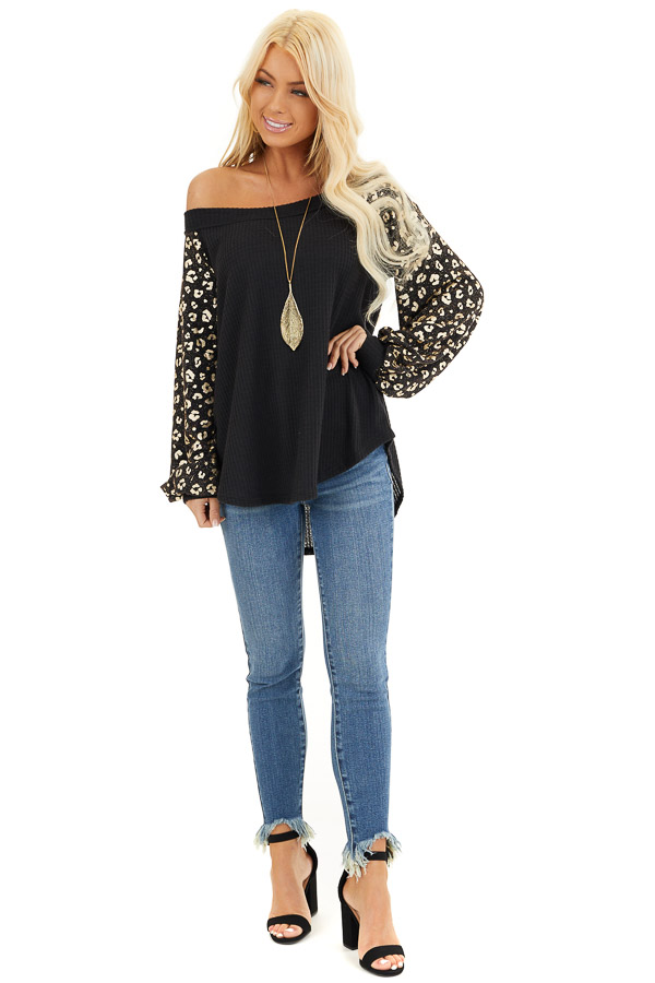 Black and Gold Leopard Print Off Shoulder Waffle Knit Top front full body