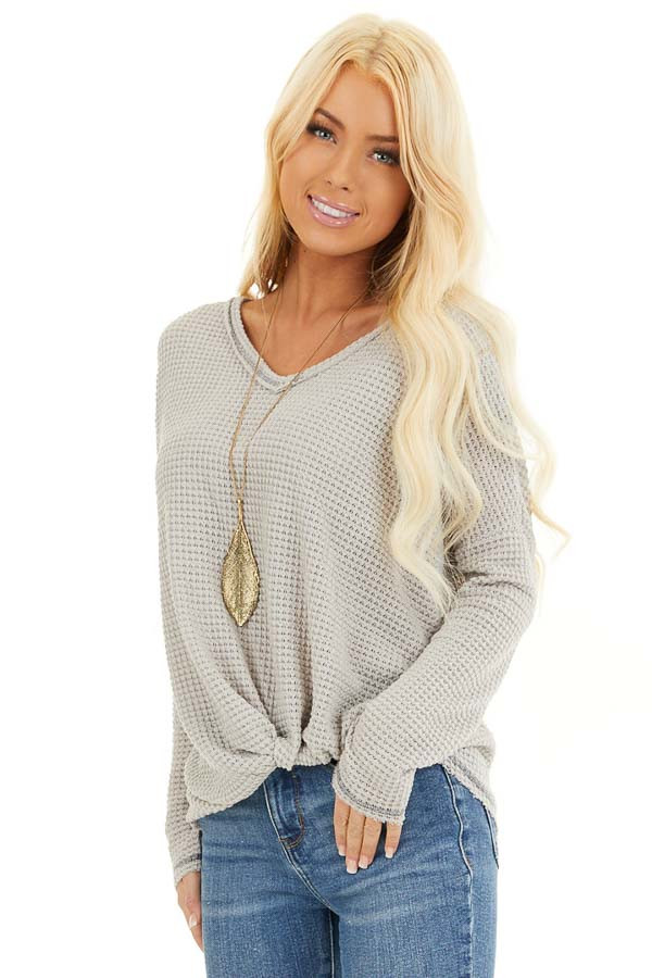 Dove Long Sleeve Waffle Knit Top with Front Twist Detail front close up