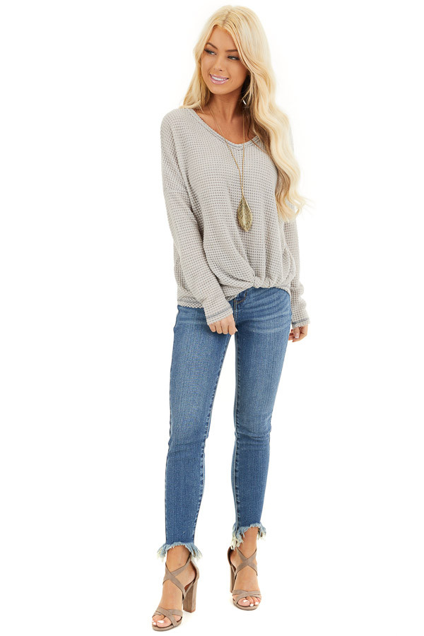 Dove Long Sleeve Waffle Knit Top with Front Twist Detail front full body