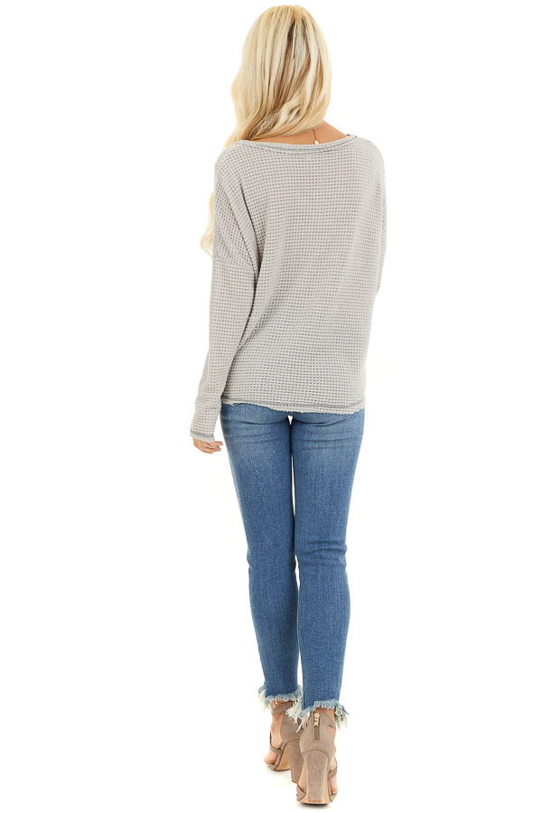Dove Long Sleeve Waffle Knit Top with Front Twist Detail back full body
