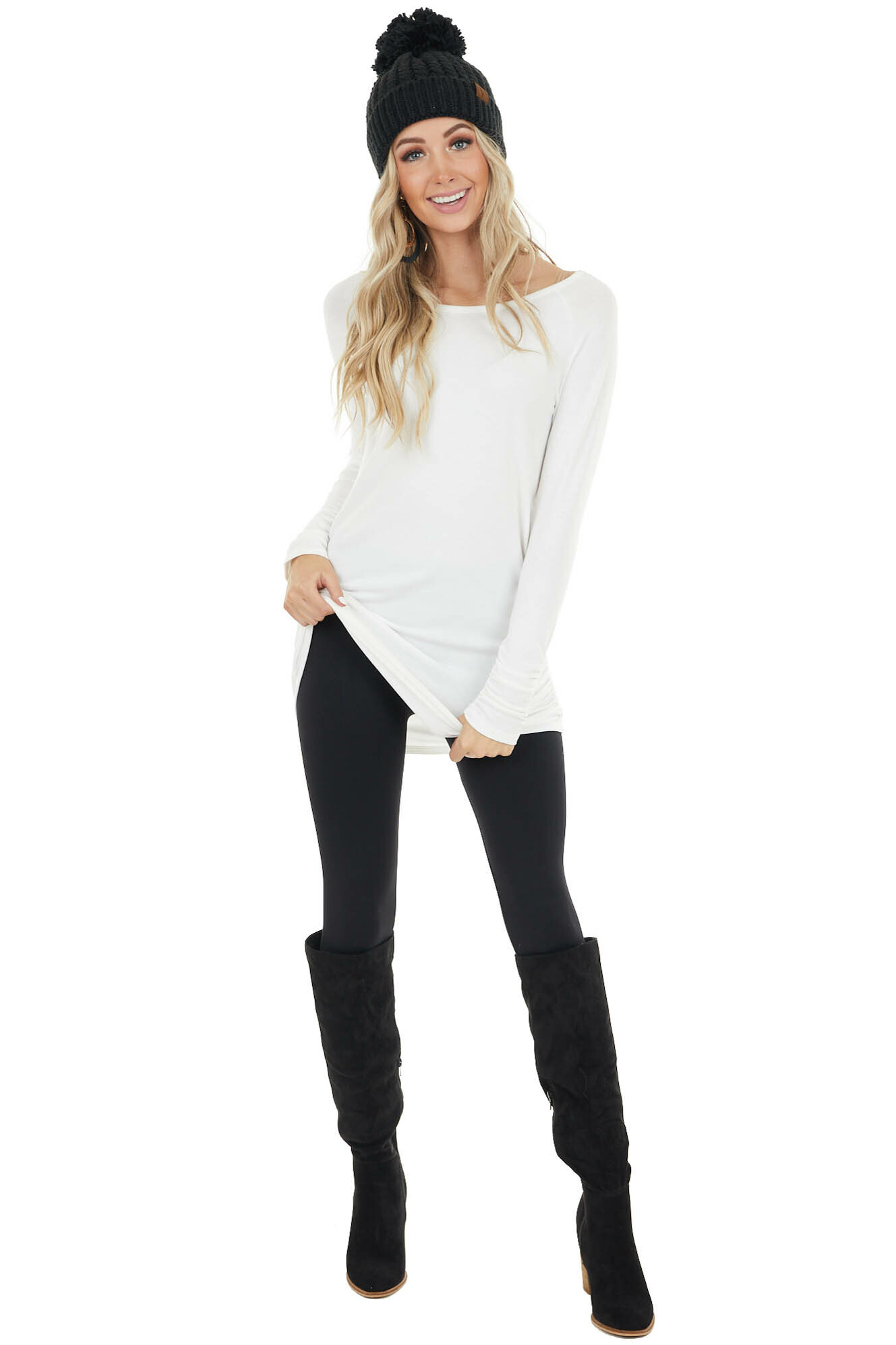 Pearl Long Sleeve Tunic Top with Ruching Details