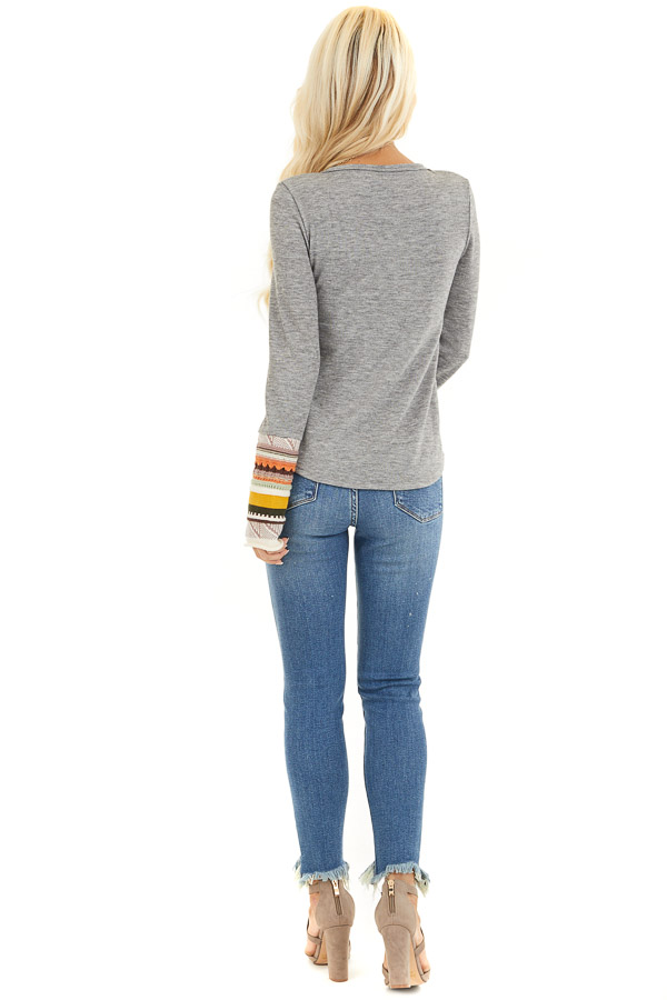 Heather Grey Knit Top with Long Multi Color Contrast Sleeves back full body