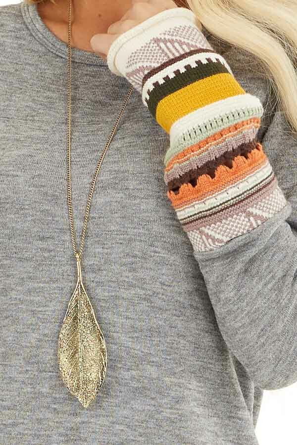 Heather Grey Knit Top with Long Multi Color Contrast Sleeves detail