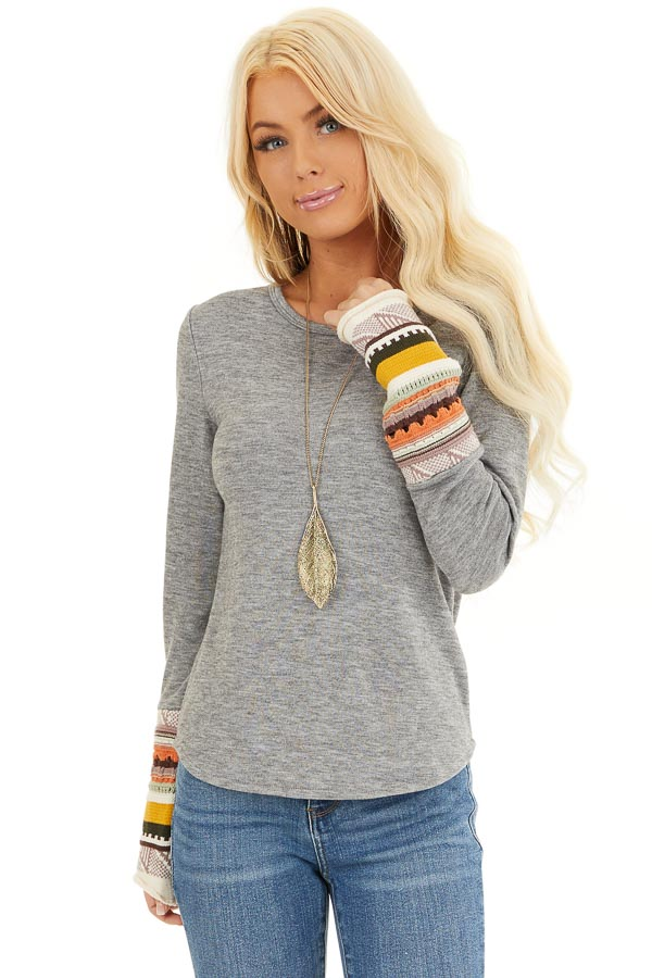 Heather Grey Knit Top with Long Multi Color Contrast Sleeves front close up