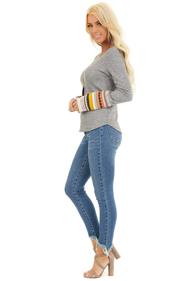 Heather Grey Knit Top with Long Multi Color Contrast Sleeves side full body