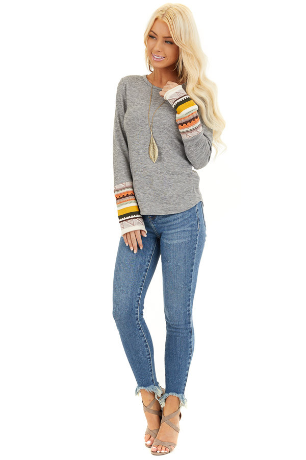 Heather Grey Knit Top with Long Multi Color Contrast Sleeves front full body