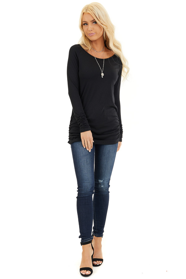 Black Long Sleeve Tunic Top with Ruching Details front full body