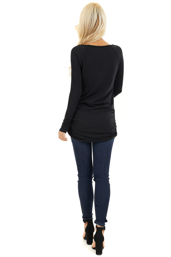 Black Long Sleeve Tunic Top with Ruching Details back full body