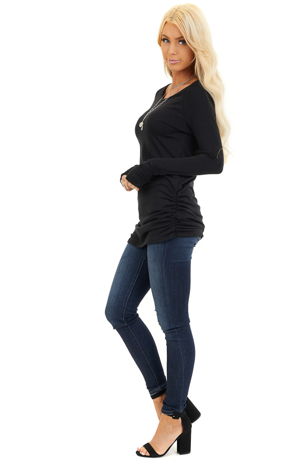 Black Long Sleeve Tunic Top with Ruching Details side full body