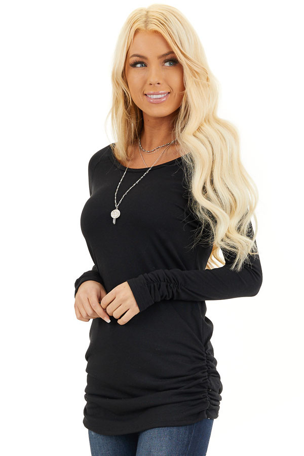 Black Long Sleeve Tunic Top with Ruching Details front close up