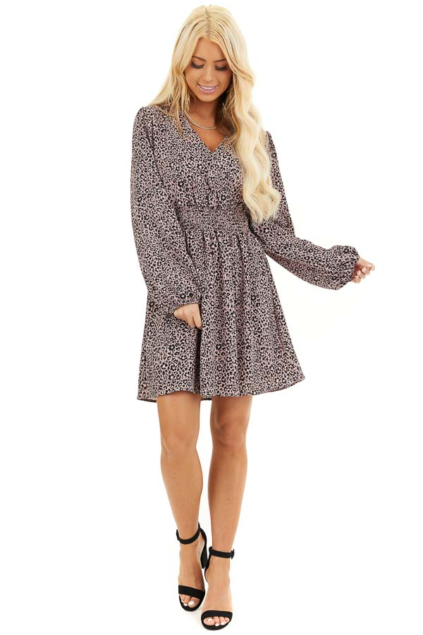Soft Lavender Leopard Print Dress With Long Puff Sleeves