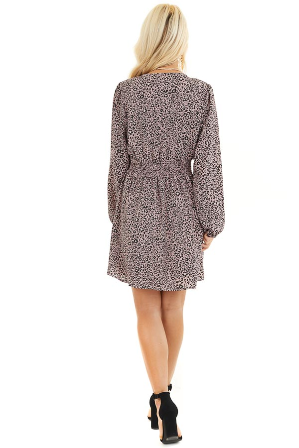 Soft Lavender Leopard Print Dress with Long Puff Sleeves back full body