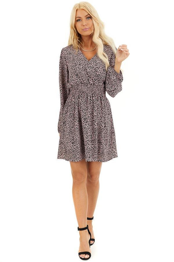 Soft Lavender Leopard Print Dress with Long Puff Sleeves front full body