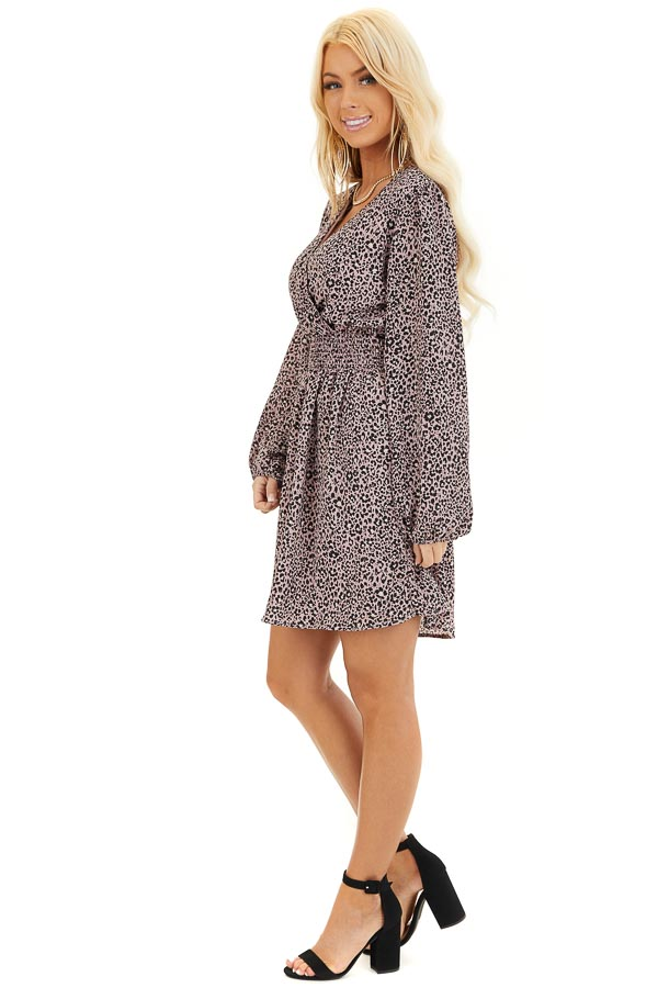 Soft Lavender Leopard Print Dress with Long Puff Sleeves side full body