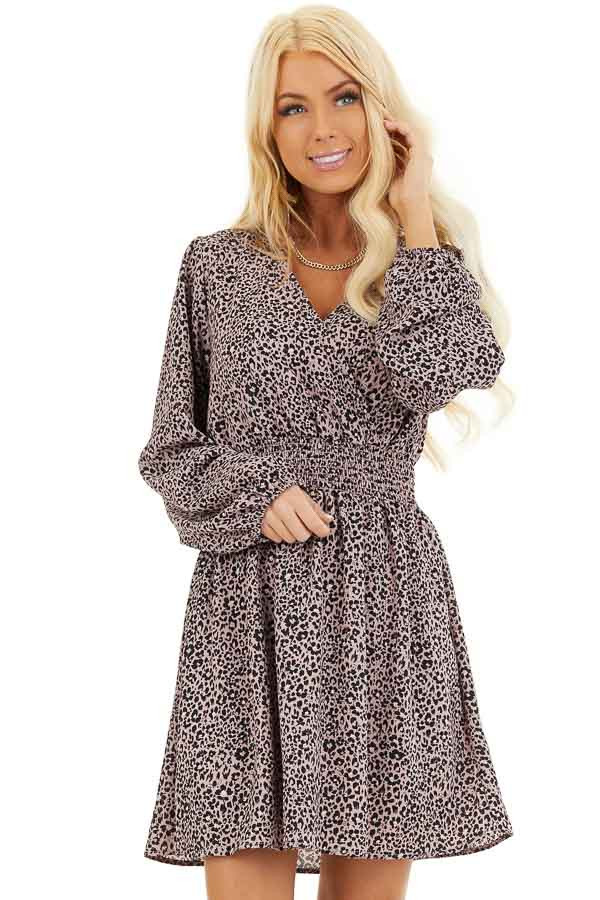 Soft Lavender Leopard Print Dress with Long Puff Sleeves front close up