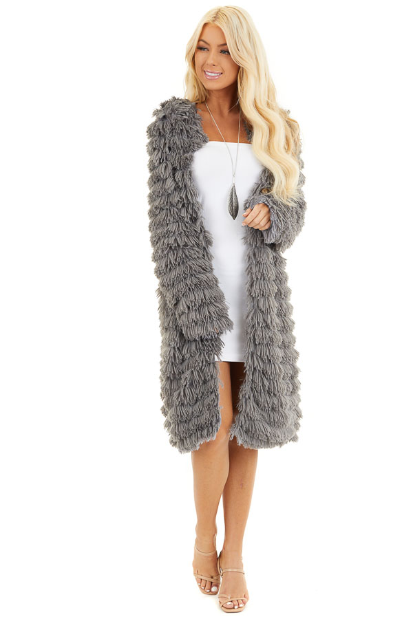 Charcoal Super Soft Faux Fur Jacket with Open Front front full body