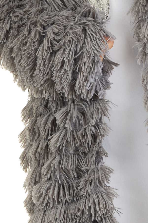 Charcoal Super Soft Faux Fur Jacket with Open Front detail