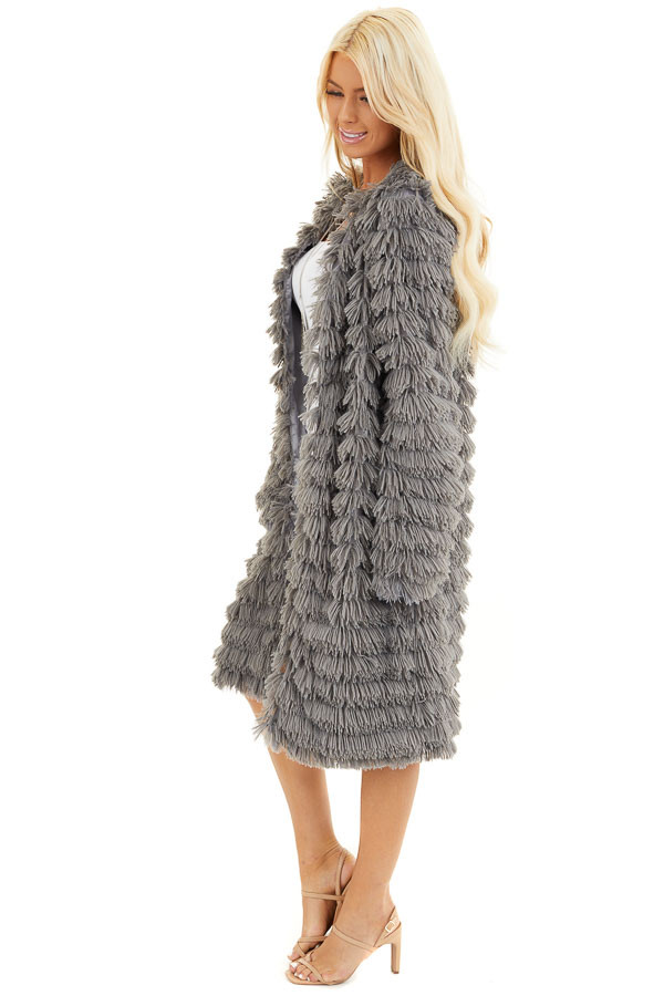 Charcoal Super Soft Faux Fur Jacket with Open Front side full body