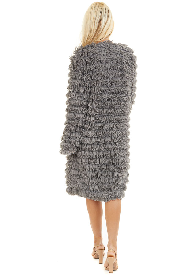 Charcoal Super Soft Faux Fur Jacket with Open Front back full body