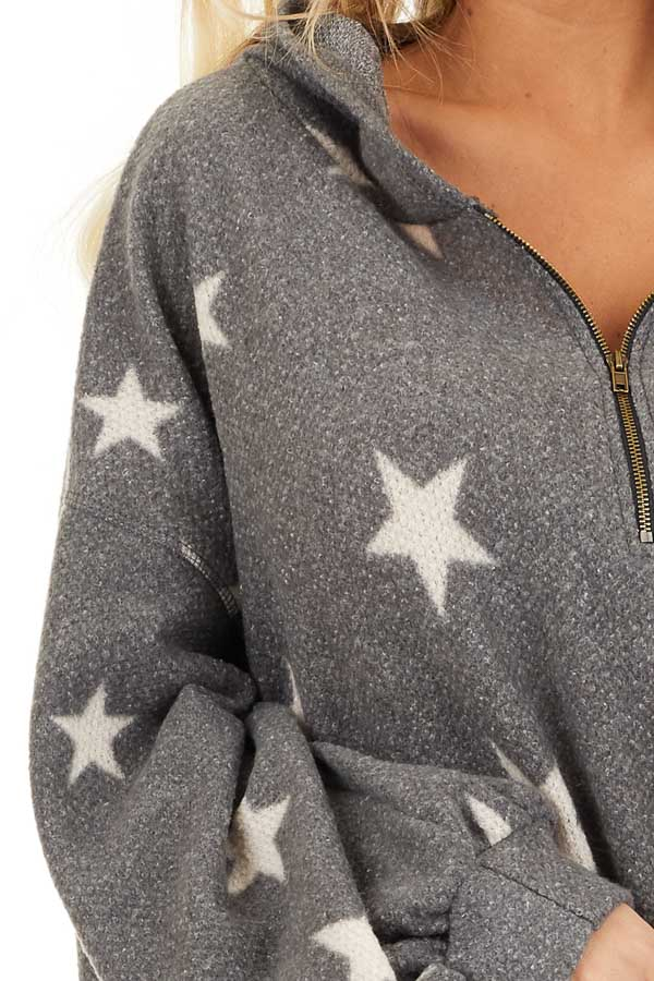 Stone Grey and Beige Star Print Long Sleeve Top with Hood detail