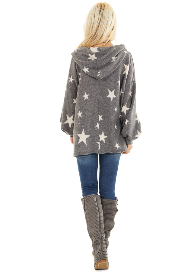 Stone Grey and Beige Star Print Long Sleeve Top with Hood back full body