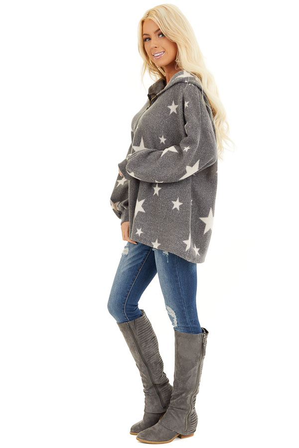 Stone Grey and Beige Star Print Long Sleeve Top with Hood side full body