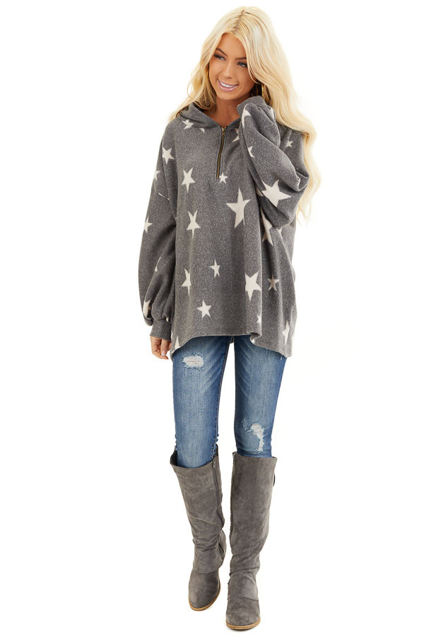 Stone Grey and Beige Star Print Long Sleeve Top with Hood front full body