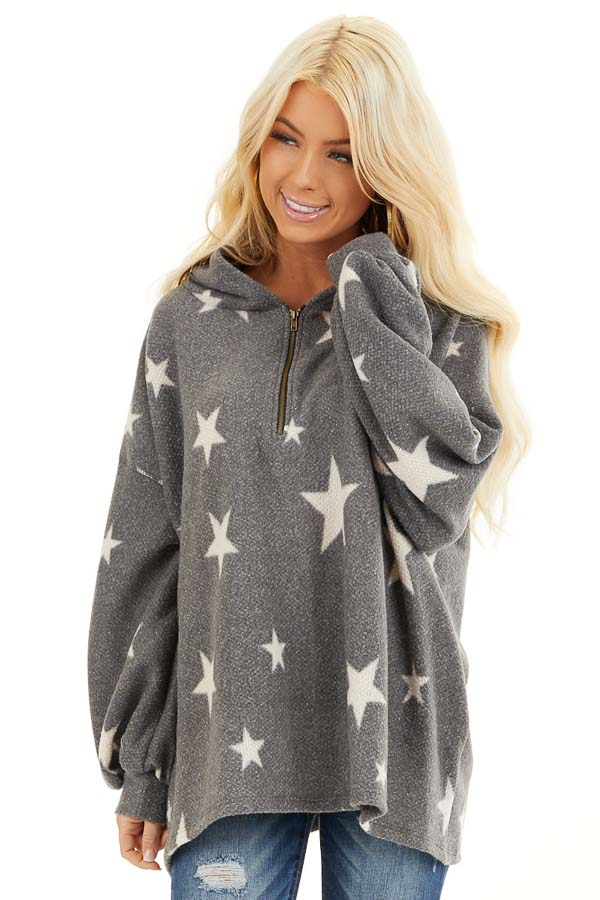 Stone Grey and Beige Star Print Long Sleeve Top with Hood front close up