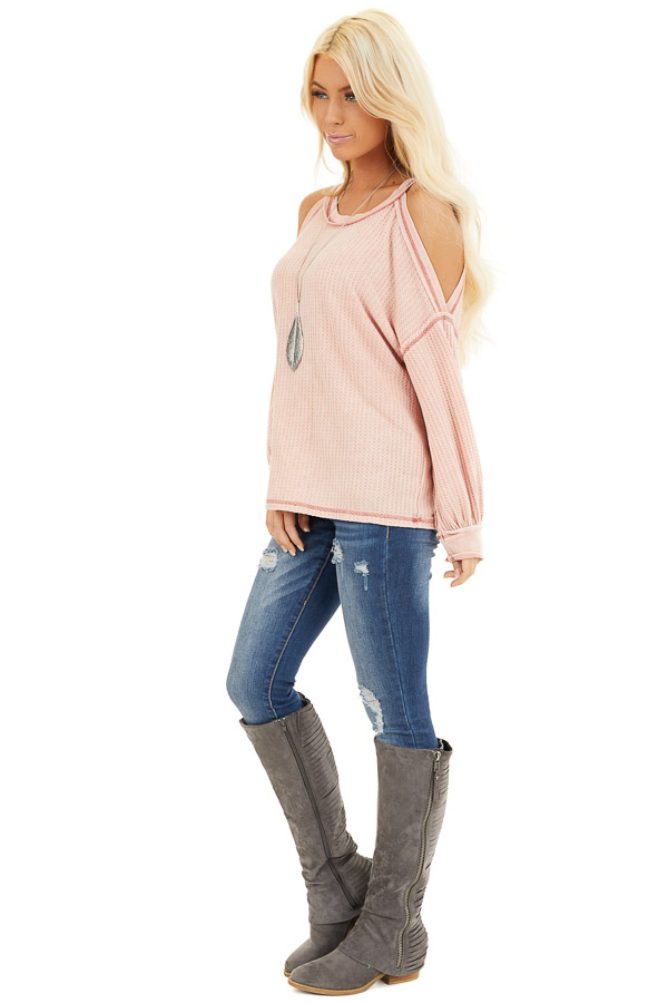 Apricot Long Sleeve Waffle Knit Top with Cold Shoulders side full body