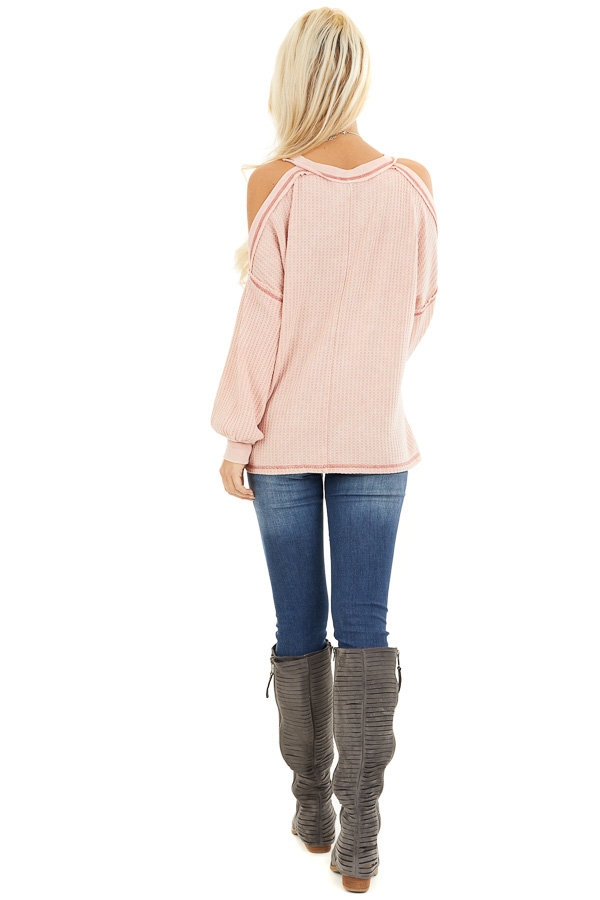 Apricot Long Sleeve Waffle Knit Top with Cold Shoulders back full body