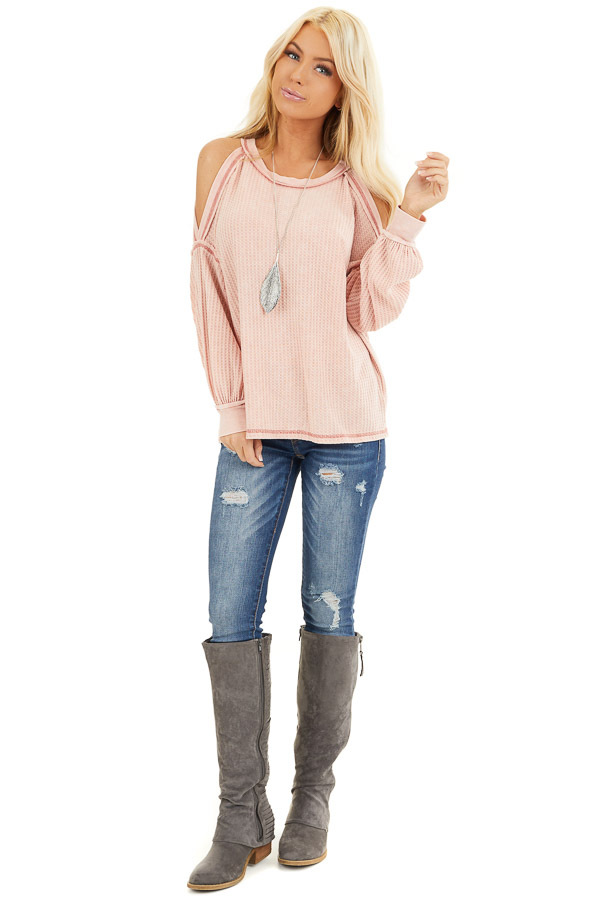 Apricot Long Sleeve Waffle Knit Top with Cold Shoulders front full body