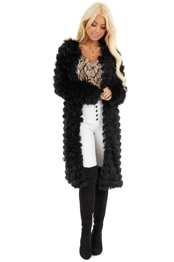 Black Super Soft Faux Fur Jacket with Open Front front full body