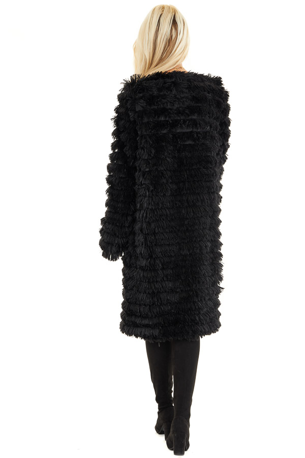 Black Super Soft Faux Fur Jacket with Open Front back full body