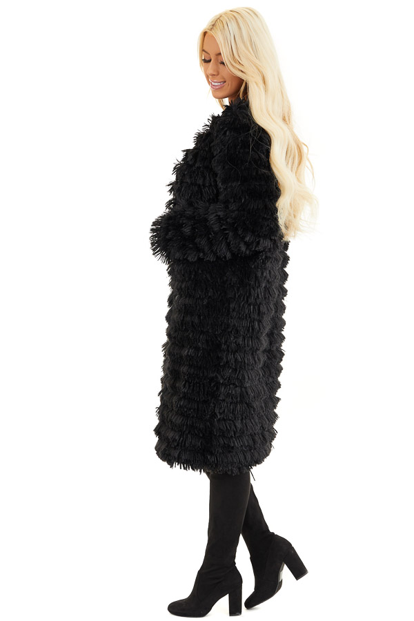 Black Super Soft Faux Fur Jacket with Open Front side full body