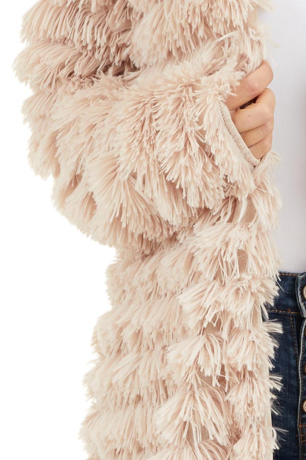 Light Sand Super Soft Faux Fur Jacket with Open Front detail