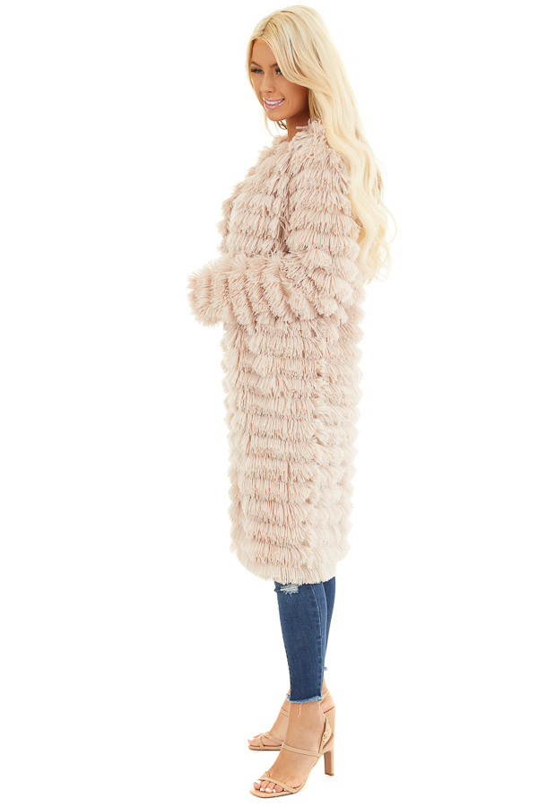 Light Sand Super Soft Faux Fur Jacket with Open Front side full body