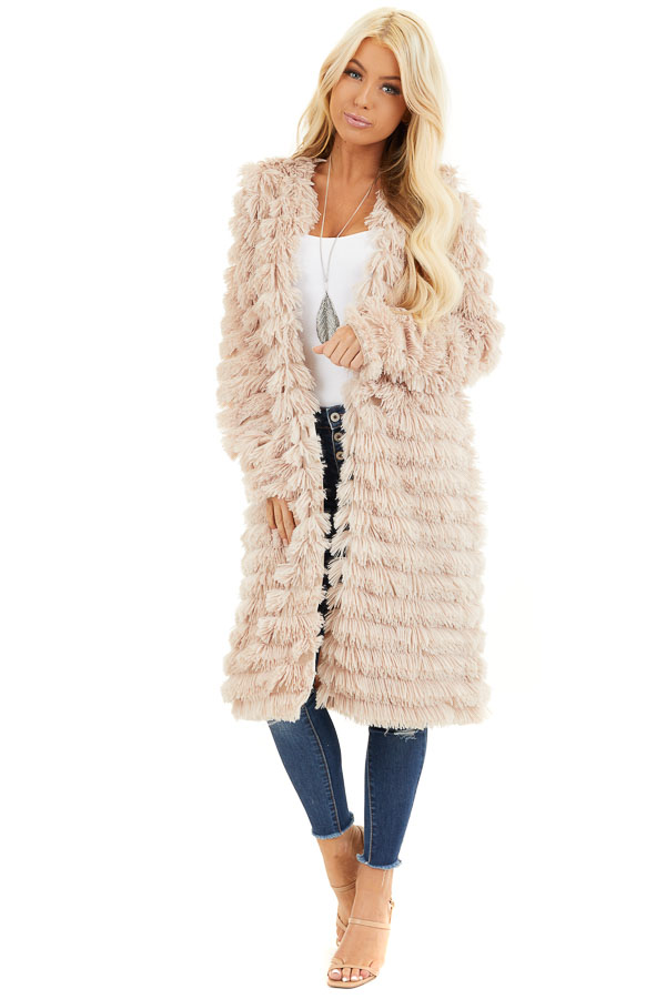 Light Sand Super Soft Faux Fur Jacket with Open Front front full body