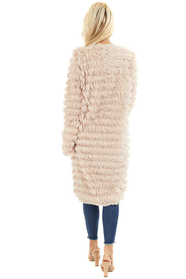 Light Sand Super Soft Faux Fur Jacket with Open Front back full body