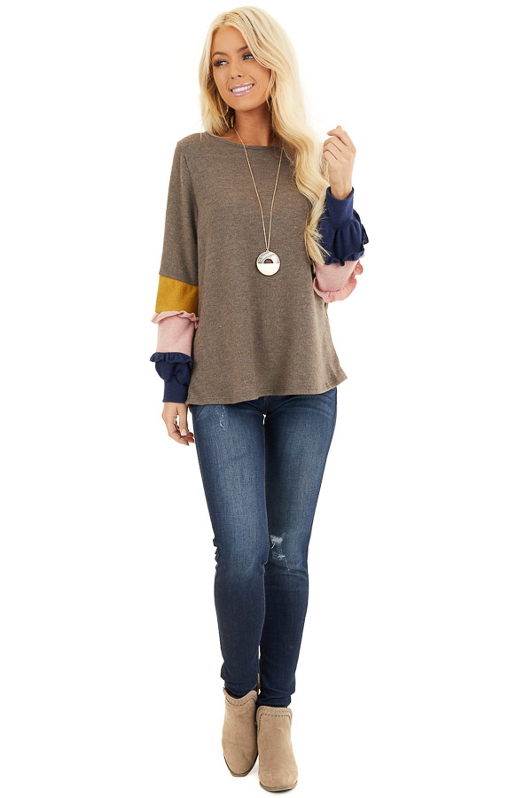 Cocoa Soft Knit Top with Contrast Color Block Sleeves front full body