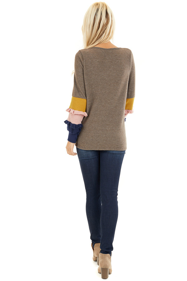 Cocoa Soft Knit Top with Contrast Color Block Sleeves back full body