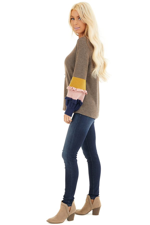 Cocoa Soft Knit Top with Contrast Color Block Sleeves side full body