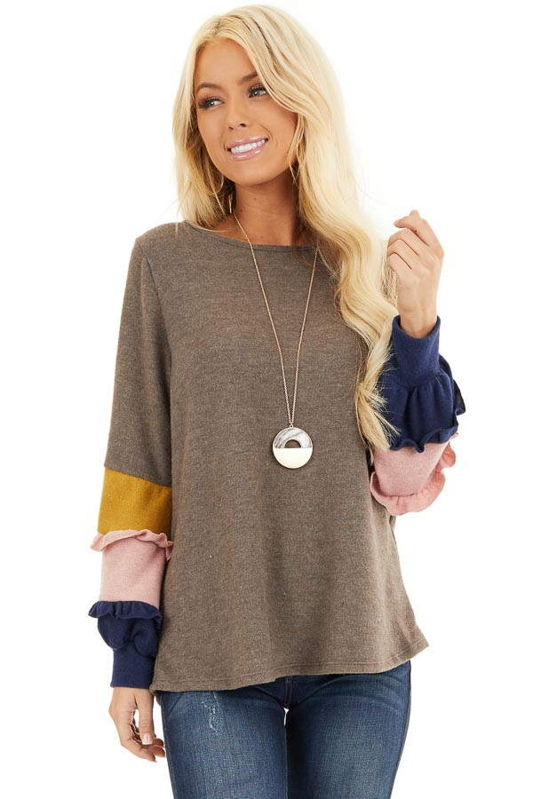 Cocoa Soft Knit Top with Contrast Color Block Sleeves front close up
