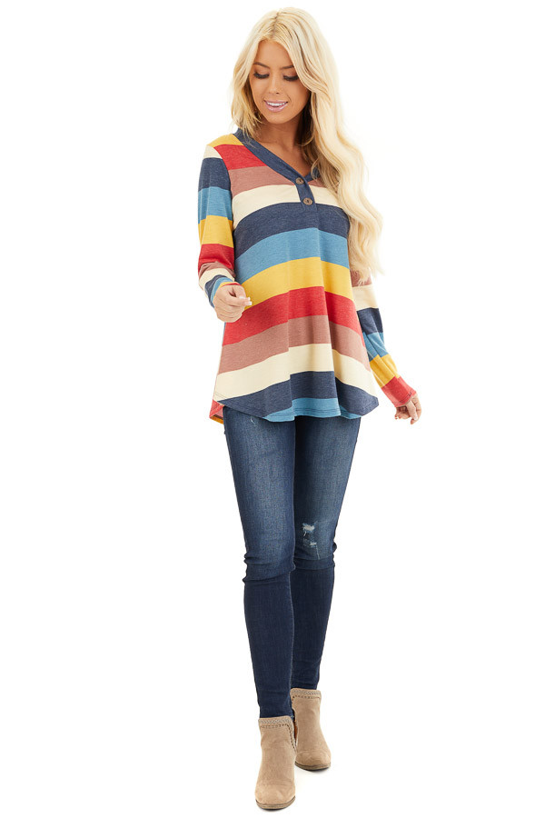 Ocean Blue Multi Color Striped Long Sleeve Knit Top front full body