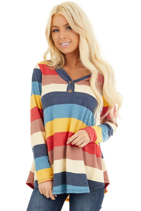 Ocean Blue Multi Color Striped Long Sleeve Knit Top front close up