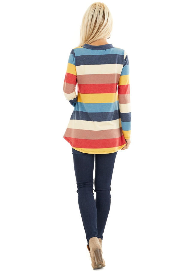Ocean Blue Multi Color Striped Long Sleeve Knit Top side full body