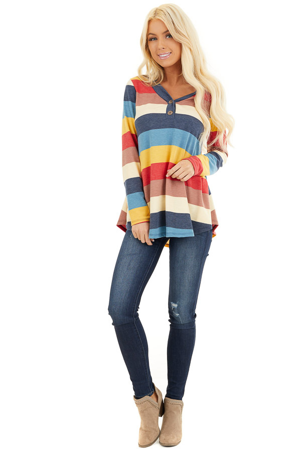 Ocean Blue Multi Color Striped Long Sleeve Knit Top back full body