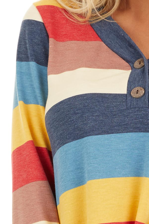 Ocean Blue Multi Color Striped Long Sleeve Knit Top detail