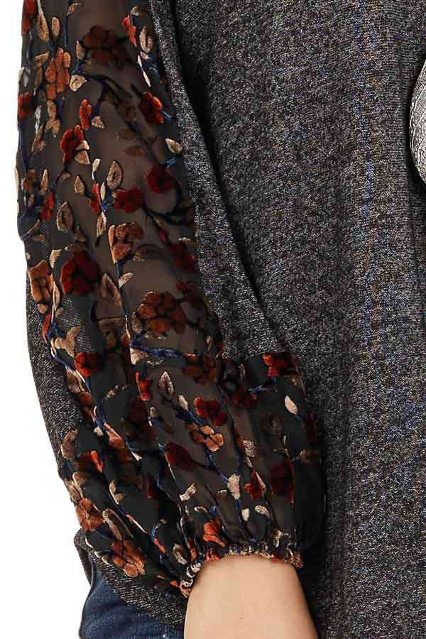 Heathered Black Knit Top with Floral Print Contrast Sleeves detail