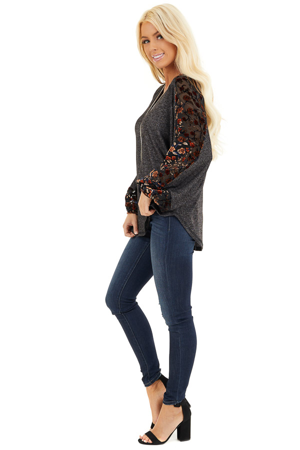 Heathered Black Knit Top with Floral Print Contrast Sleeves side full body