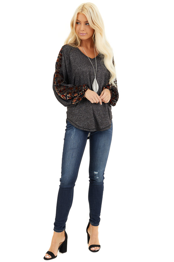Heathered Black Knit Top with Floral Print Contrast Sleeves front full body